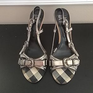 Burberry check and leather heels